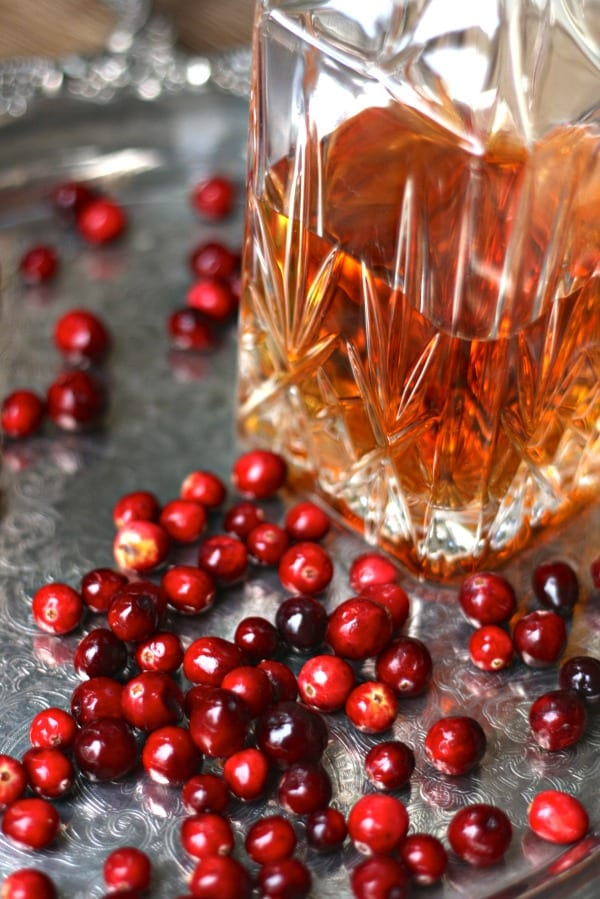 Brandy and cranberries for Cranberry Sauce