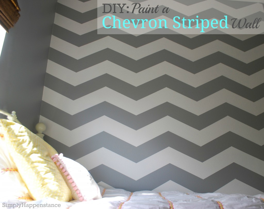 Striped Bedroom Paint Diy Paint A Chevron Striped Wall Simply Happenstance
