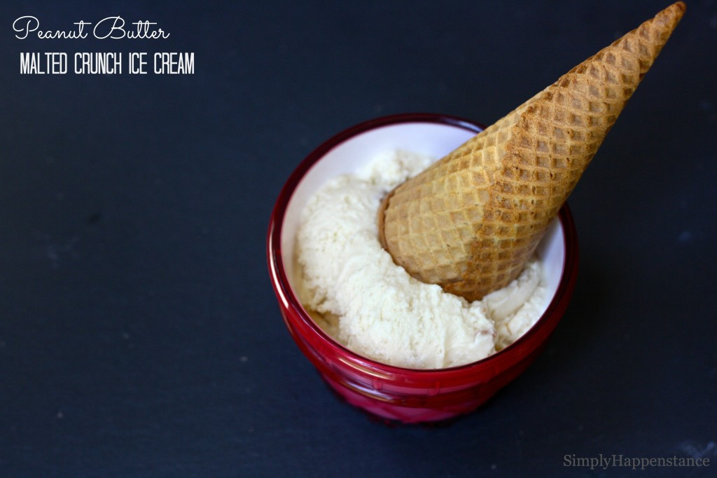 Peanut Butter Malted Crunch Ice Cream - Simply Happenstance