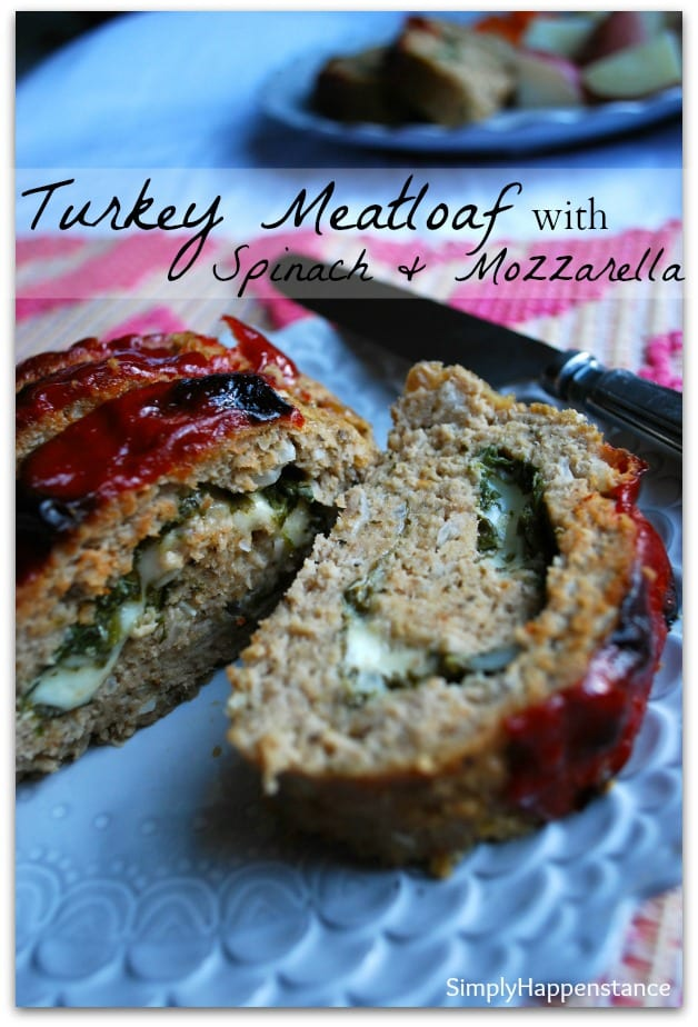 Turkey Meatloaf with Spinach & Mozzarella - Simply Happenstance