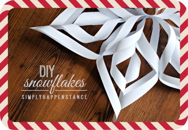 DIY Snowflake Tutorial from Simply Happenstance Blog! Perfect for a holiday craft, decor, andor gift wrap!