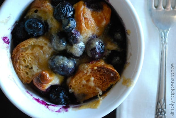 Individual Serving of the BEST Blueberry Croissant Bread Pudding via Simply Happenstance