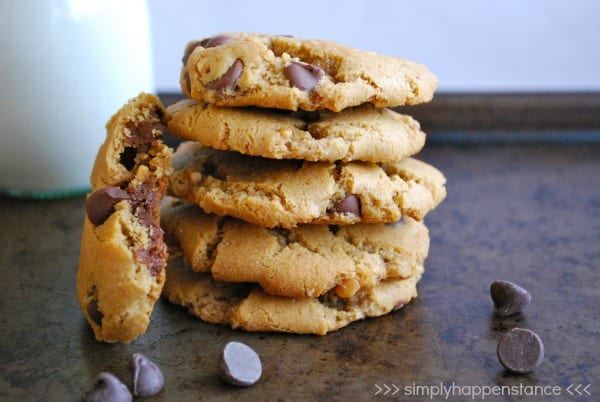 Flourless Peanut Butter Chocolate Chip Cookies - Simply Happenstance