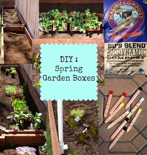 Spring Garden Boxes.  Our DIY Garden Boxes updated with new Spring Plants.  Organic gardening.