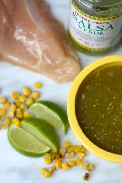 Easy Green Chile Chicken.  Made in the crockpot. 5 ingredient taco meal.