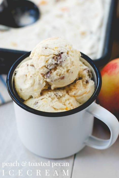 peach and toasted pecan ice cream