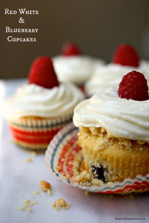 Red White and Blueberry Cupcakes. A fun festive dessert for the 4th of July.
