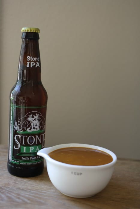 Stone IPA Beer and Carolina Gold Barbecue Sauce
