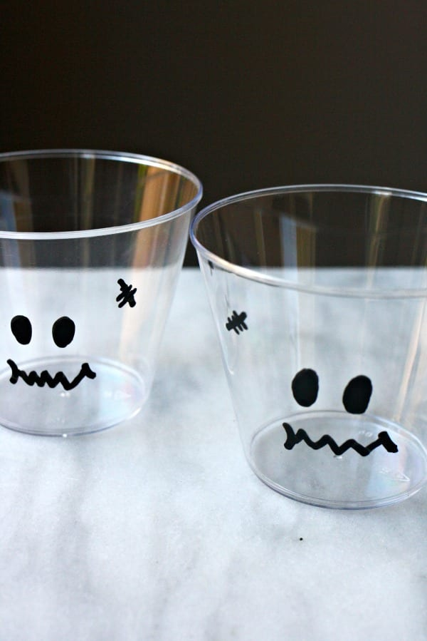 Decorated pudding cups for Halloween Pudding Cups.