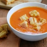 Homemade Tomato Soup with Grilled Cheese Croutons {recipe on simplyhappenstance.com}