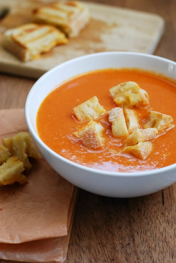 Grilled Tomato Soup With Grilled Cheese Croutons Recipe ...