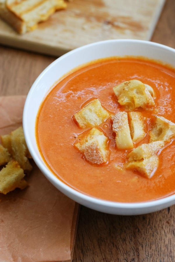 Homemade Tomato Soup with Grilled Cheese Croutons {simplyhappenstance.com}-18