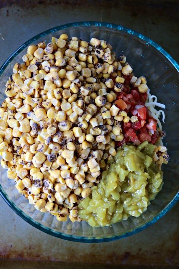 Corn, pico de gallo, jack cheese for Cheesy Game Day Dip