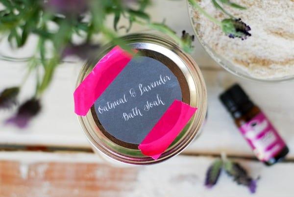 DIY- Oatmeal and Lavender Bath Soak  simplyhappenstance.com #lavenderoil #oatmeal #bath #diy