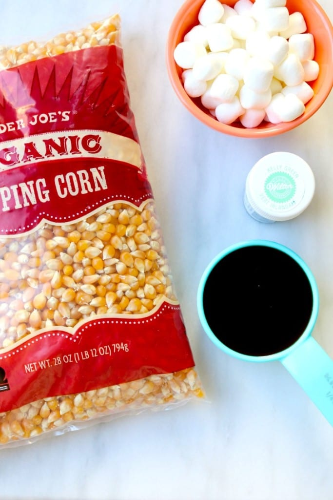Ingredients for St. Patrick's Day Caramel Corn