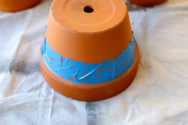 painters tape and terra cotta pots