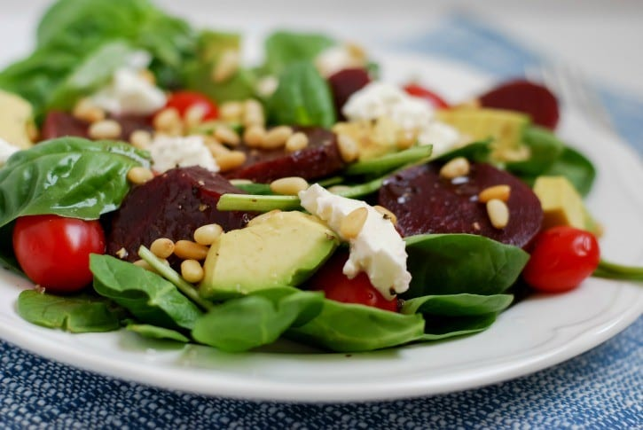 Beet Caprese Salad with a Balsamic Dressing (recipe on Simply Happenstance)