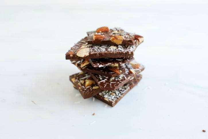 Dark Chocolate with Roasted Almonds, Coconut and Sea Salt (simplyhappenstance.com)