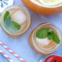 Sweet and refreshing this peach mint lemonade is perfect for summer.