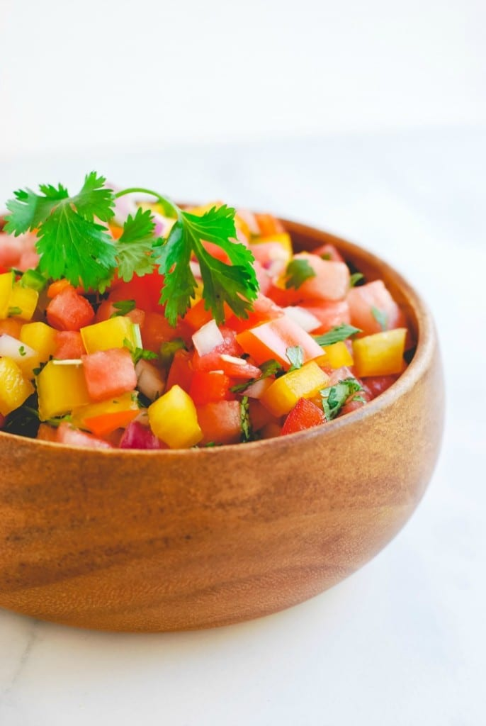 Watermelon Salsa - a summertime favorite (recipe via simplyhappenstance.com)-55