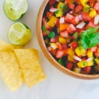 Watermelon Salsa - a deliciously simple appetizer perfect for all of your summer festivities! (Recipe on simplyhappenstance.com)! #FourthofJuly #HomemadeSalsa #Watermelon