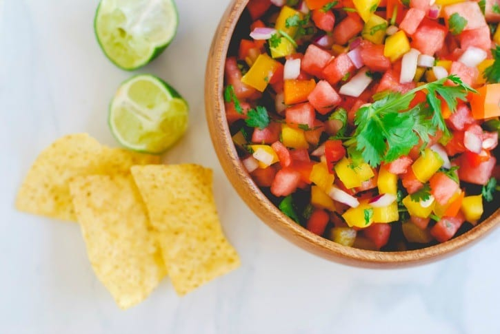 Watermelon Salsa - a summertime favorite (recipe via simplyhappenstance.com)-81