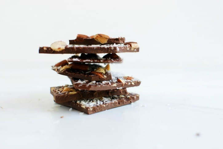 homemade dark chocolate with roasted almonds, coconut + sea salt (simplyhappenstance.com)