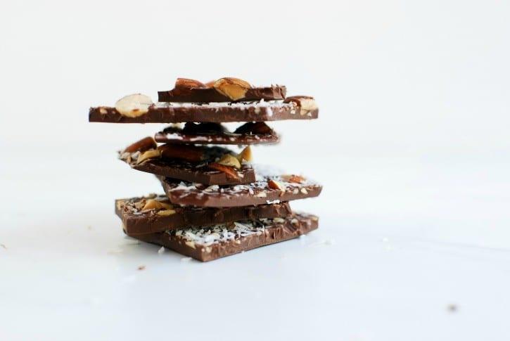 homemade dark chocolate with roasted almonds, coconut + sea salt (simplyhappenstance.com)