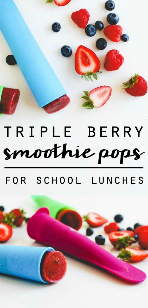 Triple Berry Smoothie Pops || For School Lunches!