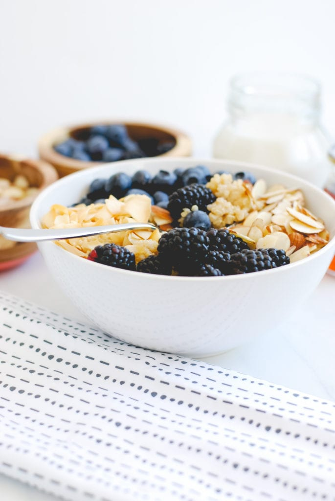 Berry Quinoa Bowl with Roasted Coconut and Slivered Almonds-35